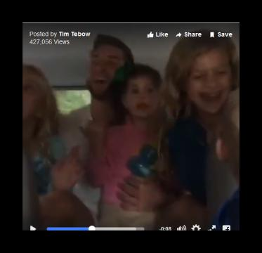 Tim Tebow CarKaraoke with nieces and nephew