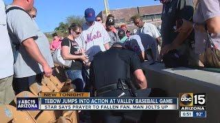 Tim Tebow Says Prayer For Fan After Collapsing at Glendale Baseball Game